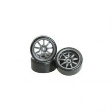 3racing (#WH-24/GY) 1/10 9 Spoke Wheel & Tyre Set For Drift(5mm Offset) -4pcs