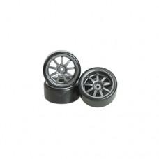3racing (#WH-25/GY) 1/10 9 Spoke Wheel & Tyre Set For Drift(7mm Offset) -4pcs